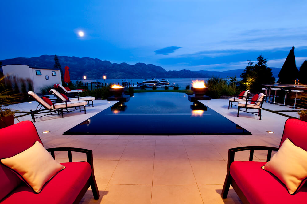 concrete swimming pool with view in kelowna